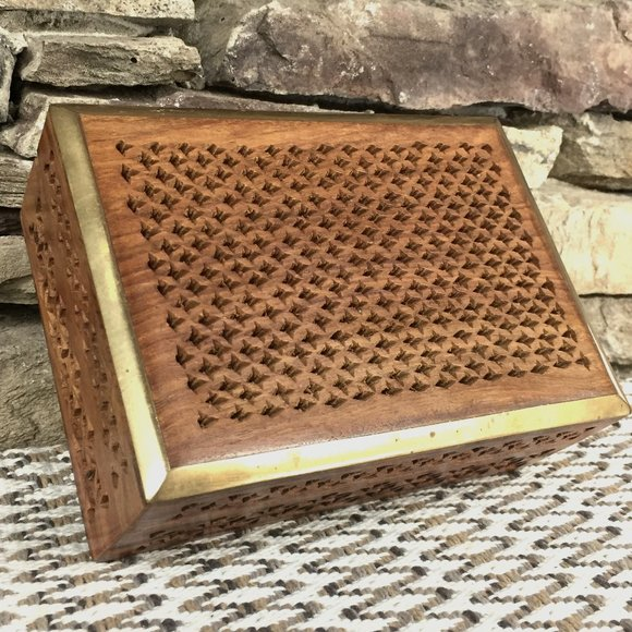 Wood Brass Cutout Box India Boho Decor